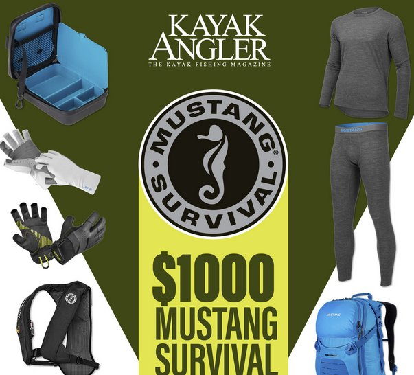 Kayak angler 1000 mustang survival fishing gear giveaway for Free fishing tackle giveaway