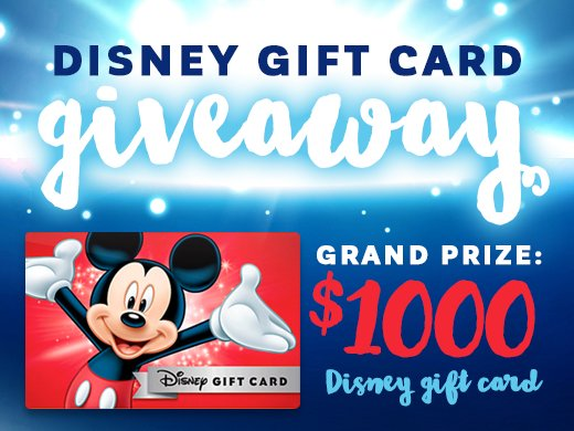 $1,000 Disney Gift Card Giveaway