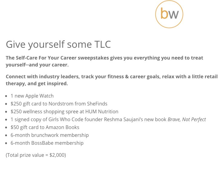2 000 Self Care For Your Career Sweepstakes
