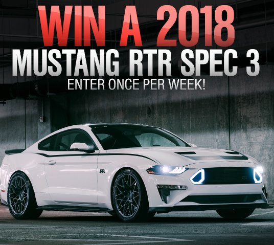 american muscle 2018 rtr spec 3 mustang giveaway. Black Bedroom Furniture Sets. Home Design Ideas
