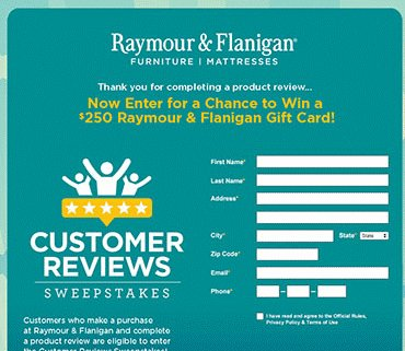 Raymour & Flanigan - Customer Product Review Sweepstakes