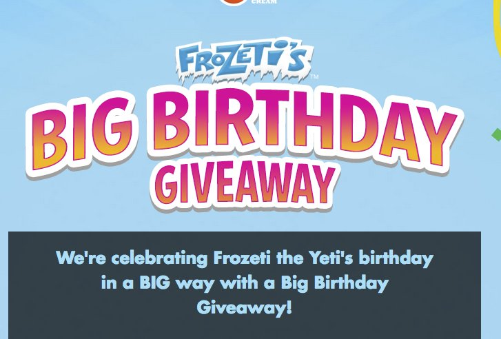 Dippin' Dots - Frozeti' Big Birthday Giveaway Sweepstakes