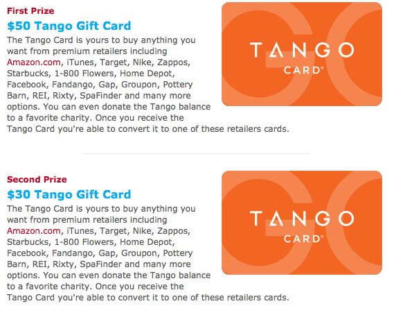 Top Tango Gift Cards Sweepstakes!