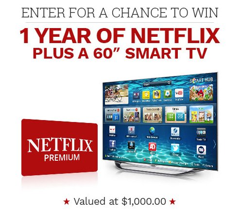 Sweepstakes a Month - Win 1 Year of Netflix + a 60