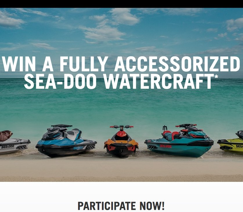 recreational vehicle sweepstakes bombardier recreational products win a brp sea doo 8631